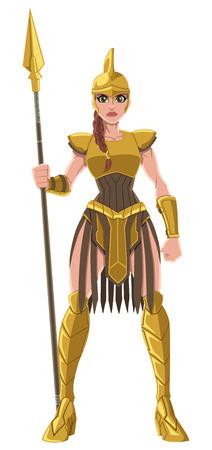 Cartoon illustration of a fierce Amazon warrior in full battle gear, isolated on white background. Illustration