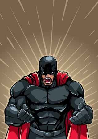 Illustrazione del supereroe infuriato con i pugni chiusi pronti per la battaglia.
