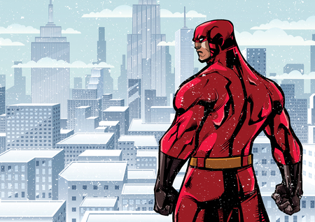 Comics style illustration of powerful superhero standing ready for battle on winter city background.