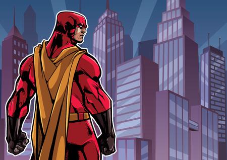 Comics style illustration of powerful superhero standing on cityscape background.