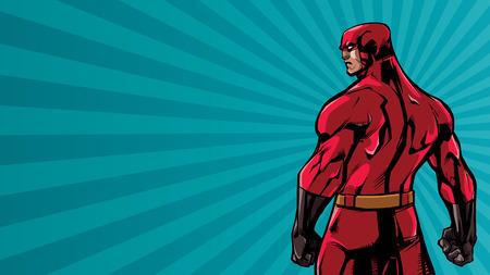 Comics style illustration of powerful superhero standing on ray light background.