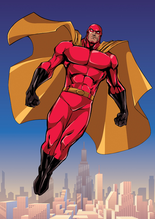 Full length illustration of powerful superhero looking down while soaring in the sky above big city.