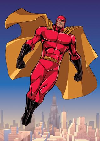 Ilustración de cuerpo entero de un poderoso superhéroe mirando hacia abajo mientras se eleva en el cielo sobre la gran ciudad.