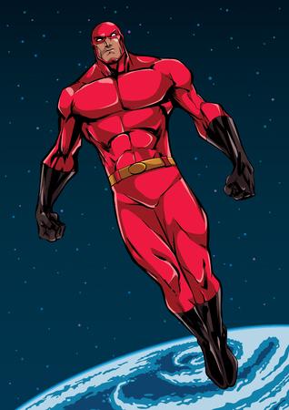 Illustrazione a figura intera del potente supereroe che guarda in basso mentre si libra nello spazio esterno. Vettoriali