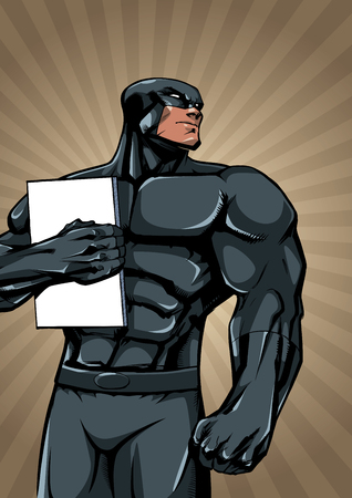 Illustration of powerful superhero holding book, magazine or comics.