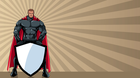 Powerful superhero holding big shield with copy space.