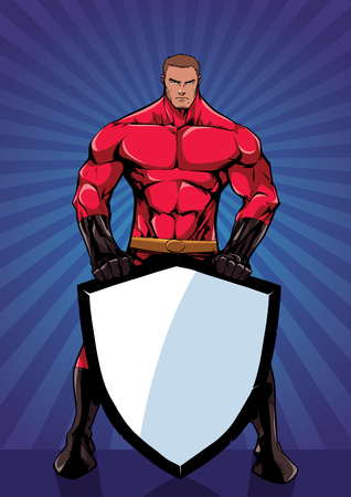 Powerful superhero holding big shield on abstract ray light background.