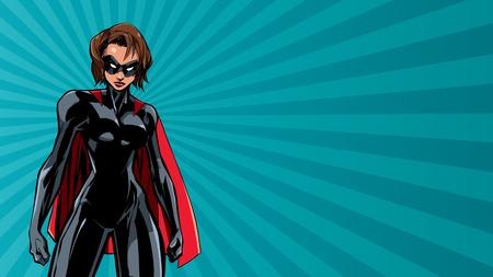 Illustration de super-héroïne puissante sur fond abstrait. Vecteurs
