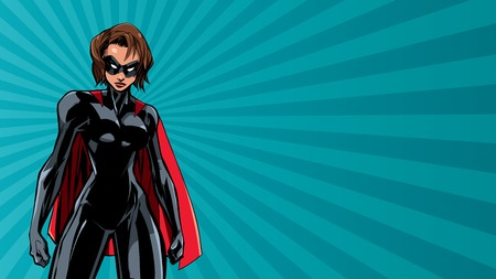 Illustration of powerful superheroine on abstract background. Illustration