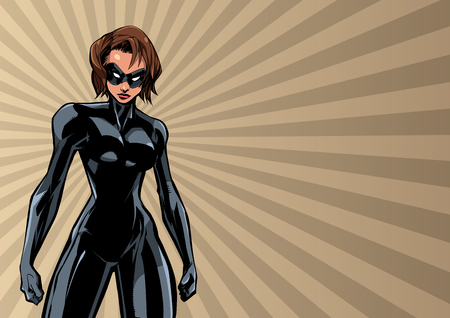 Illustration of powerful superheroine on abstract background. Çizim