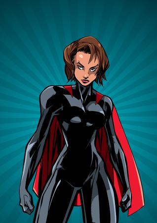 Illustration of powerful superheroine on abstract background. Çizim