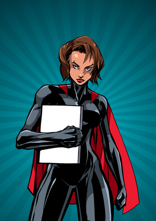 Illustration of powerful superheroine holding book, magazine or comics. You can use the copy space on the cover as you wish. Çizim