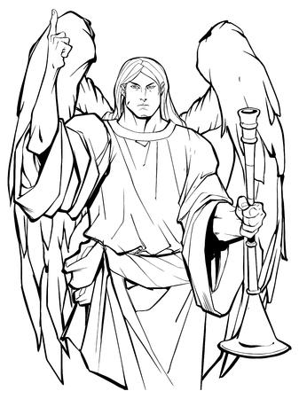 Retrato de arte lineal del Arcángel Gabriel alabando al señor y sosteniendo una trompeta.