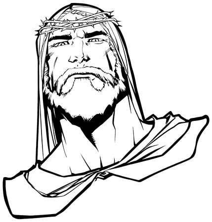 Line art portrait of Jesus Christ wearing crown of thorns and looking at you with serious expression. Illustration