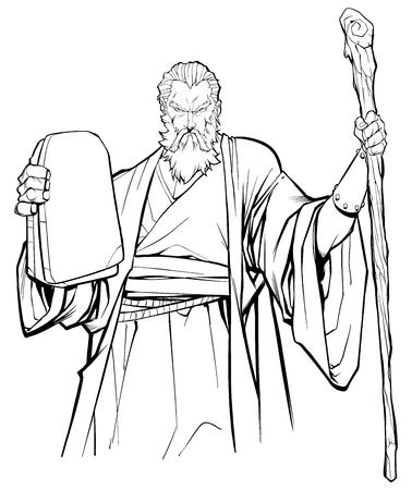 Strichzeichnungen von Moses, der die Steintafeln mit den Zehn Geboten und seinem Holzstab hält.