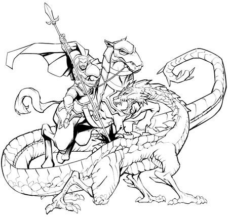 Black and white line art illustration of Saint George slaying the dragon. 向量圖像