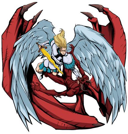 Illustration d'art en ligne de l'archange Michael battant Satan.