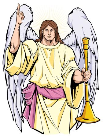 Porträt des Erzengels Gabriel, der den Herrn lobt und eine Trompete hält. Vektorgrafik