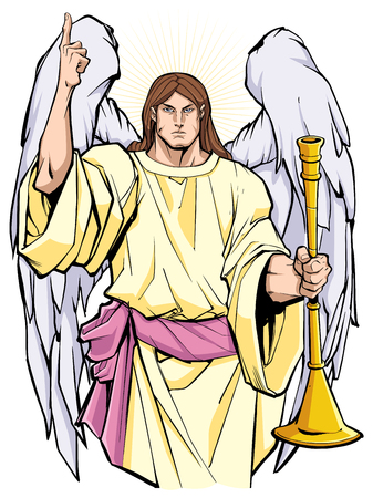 Portret Archanioła Gabriela chwalącego Pana i trzymającego trąbkę. Ilustracje wektorowe