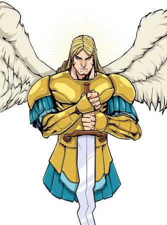 Kolorowa ilustracja przedstawiająca Archanioła Michała trzymającego miecz.