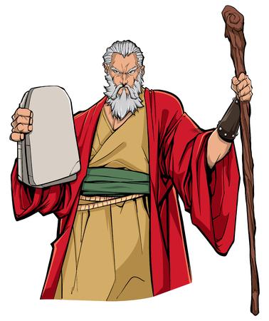 Ritratto di Mosè che tiene le tavole di pietra con i dieci comandamenti e il suo bastone di legno.
