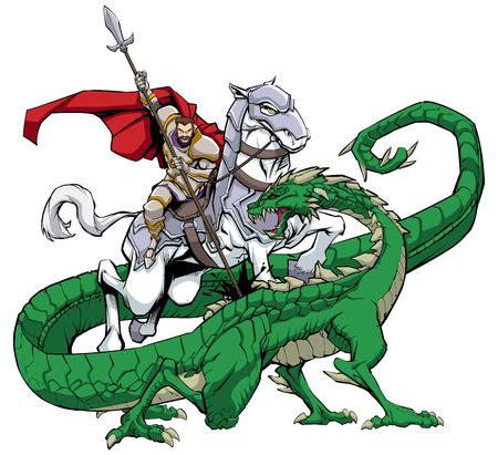 Illustration of Saint George slaying the dragon.  イラスト・ベクター素材