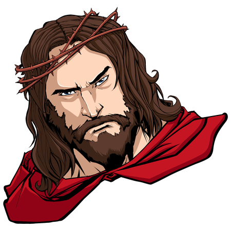 Portrait of Jesus Christ wearing red cape like a superhero, and looking at you with serious expression.