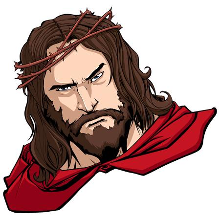Ritratto di Gesù Cristo che indossa un mantello rosso come un supereroe e ti guarda con espressione seria. Vettoriali
