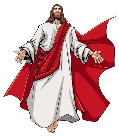 Illustratie van Jezus Christus die u met open armen begroet.