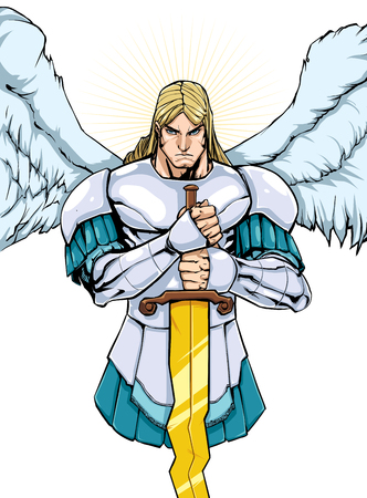 Full color illustration of Archangel Michael holding his sword.