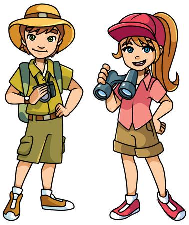 Illustration de dessin animé de 2 jeunes explorateurs heureux prêts pour leur prochaine aventure et isolés sur fond blanc.