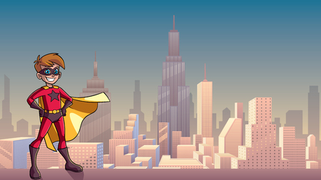 Illustration of superhero boy smiling happy while wearing cape against city background as copy space. Illustration