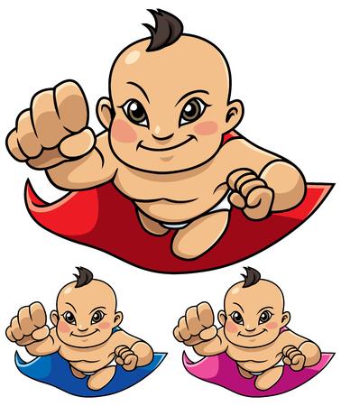 Full length illustration of super baby smiling while flying. Ilustração
