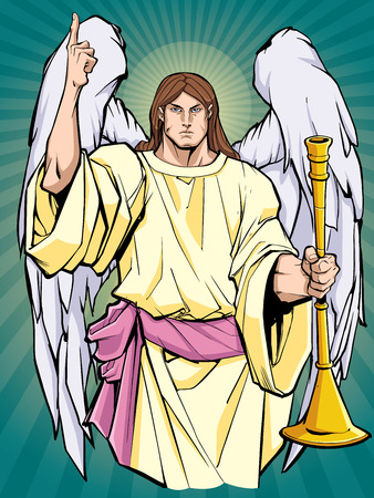 Portrait of Archangel Gabriel praising the lord and holding a trumpet. Vektorové ilustrace