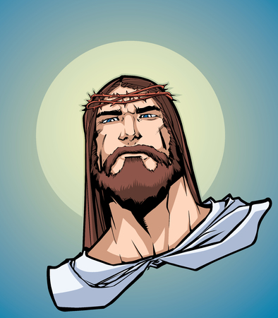Portrait of Jesus Christ wearing crown of thorns and looking at you with serious expression. Illustration