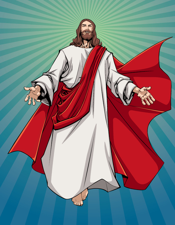 Illustration of Jesus Christ greeting you with open arms. Ilustração