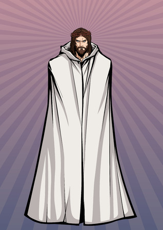 Full length illustration of Jesus Christ wearing crown of thorns and looking at you with serious expression.
