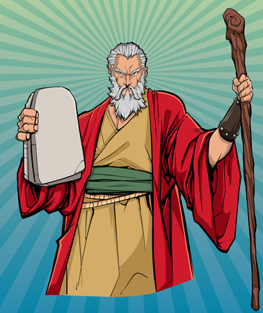 Portrait of Moses holding the stone tablets with the Ten Commandments and his wooden staff.