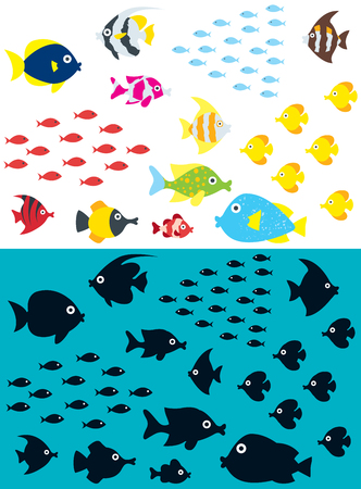 Set of cartoon fish including the silhouettes.  イラスト・ベクター素材