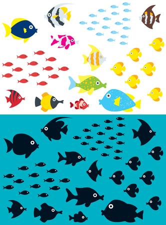 Set of cartoon fish including the silhouettes. Ilustração