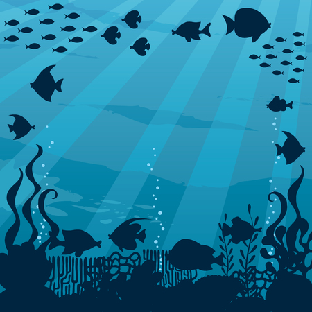 Cartoon square banner of underwater world in silhouettes and with copy space.