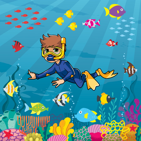 Illustration of little boy wearing diving mask, swim fins and neoprene suit while snorkeling in coral reef.