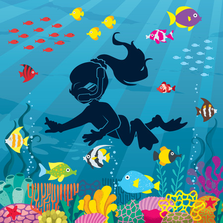 Illustration of little girl wearing diving mask, swim fins and neoprene suit while snorkeling in coral reef.