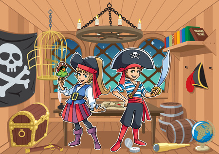 Cartoon illustration of two cute and happy children, boy and girl, smiling while wearing pirate costumes in the cabin of a pirate captain. Illustration