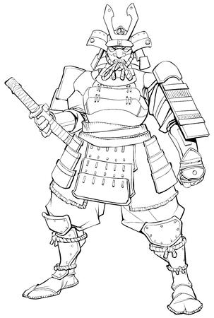 Line art illustration of powerful Samurai warrior. Illustration
