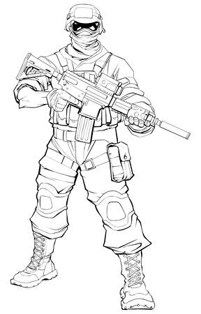 Line art illustration of masked soldier on patrol, holding machine gun. Ilustração