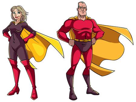Cartoon illustration of senior superhero couple on white background.