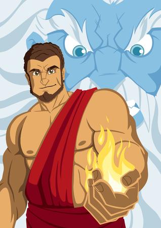 The Titan Prometheus giving fire to the people, angering Zeus. Illusztráció