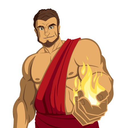 The Titan Prometheus giving fire to the people. Illusztráció