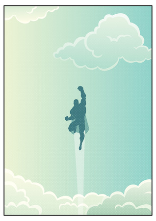 Cartoon illustration of powerful superhero flying across beautiful cloudscape.